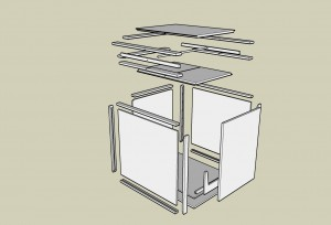 Exploded view of the Flip Top cabinet design